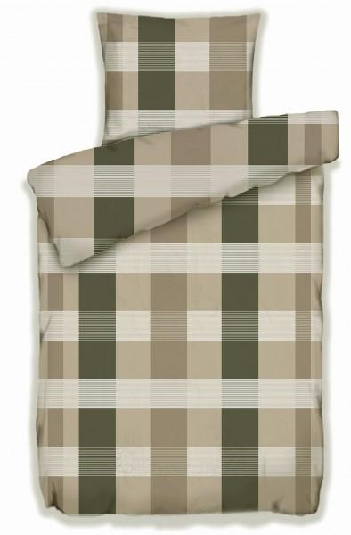 Biber Winter Bettwäsche 135 x 200 + 80x80 cm, 100% Baumwolle,beige braun taupe kariert