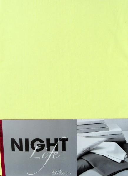 klassisches Haustuch, Betttuch, Bettlaken, OHNE Spanngummi, 150x250 cm, Farbe: pastellgelb, 100% Bau