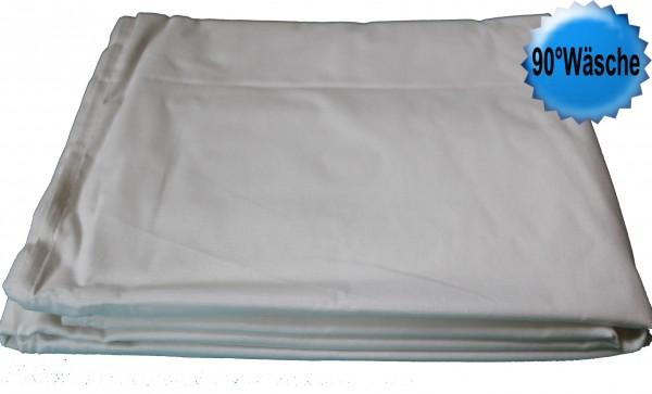 kochfestes Betttuch, Haustuch, Bettlaken, 150x250 cm, 100% Baumwolle, ohne Gummizug, Fb. weiss, k
