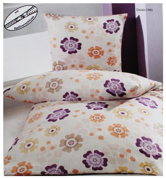 Seersucker Bettwäsche 155x220 +80x80cm Übergröße, weiß beige Streifen Blüten, bügelfrei, Microfaser-