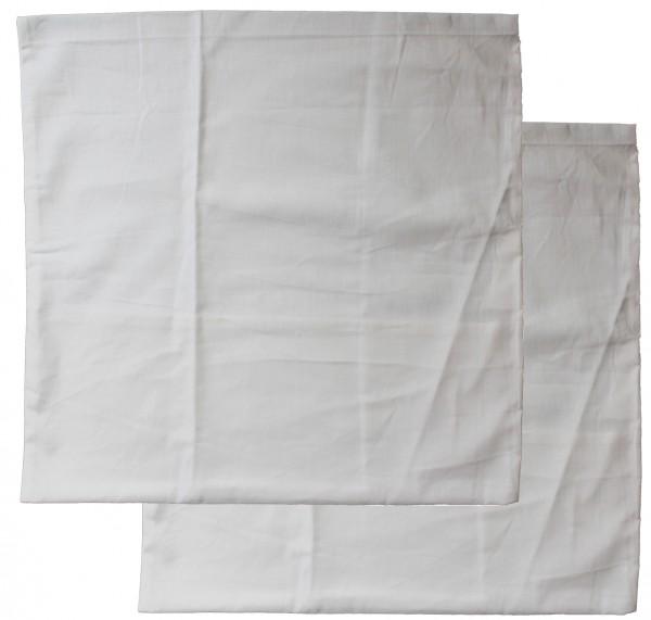 2er Pg. Kopfkissenbezug 80 x 80 cm Kochfest, Hotelverschluß, weiß, Linon, 95 Grad Wäsche, Kissenhüll