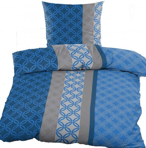 Renforce Bettwäsche 135 x 200 + 80x80 cm, 100% Baumwolle, blau grau gemustert