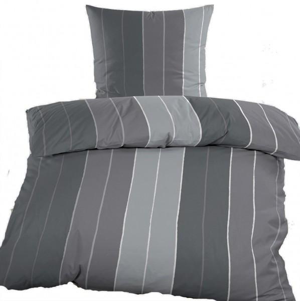 Biber Winter Bettwäsche 135 x 200 + 80x80 cm, 100% Baumwolle, grau Streifen