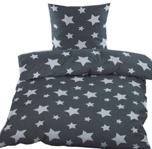 Fleece Winter Bettwäsche 135x200 + 80x80cm, grau weiß Sterne, Microfaser