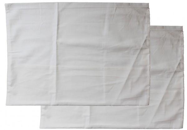2er Pg. Kopfkissenbezug 50 x 70 cm Kochfest, Hotelverschluß, weiß, Linon, 95 Grad Wäsche, Kissenhüll