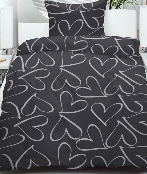 Fleece Winter Bettwäsche 135x200 + 80x80cm, schwarz silber Herz , Microfaser