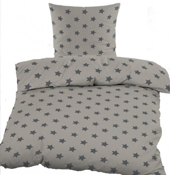 biber winter bettw sche 135 x 200 80x80 cm baumwoll mischgewebe grau sterne kh. Black Bedroom Furniture Sets. Home Design Ideas