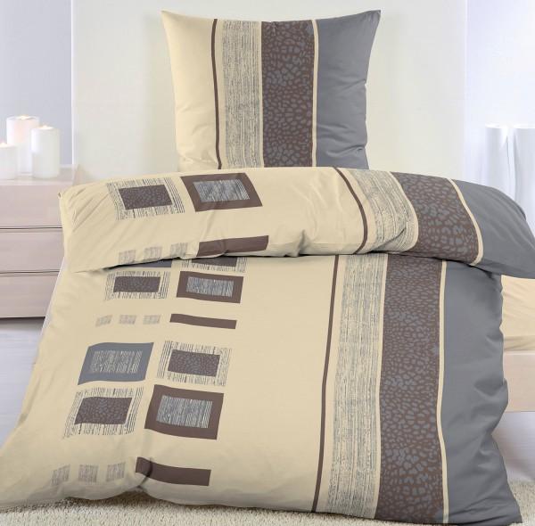 Biber Winter Bettwäsche 135 x 200 + 80x80 cm, 100% Baumwolle, beige Karo/Streifen