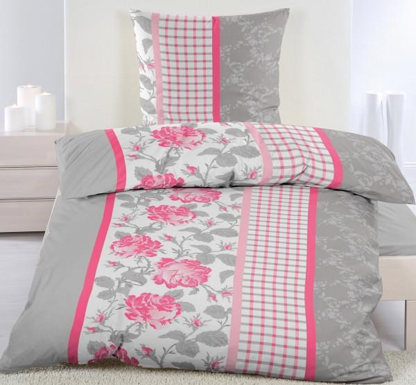 Biber Winter Bettwäsche 135 x 200 + 80x80 cm, grau pinkrot weiß, Rosenblüten, Baumwoll Mischgewebe