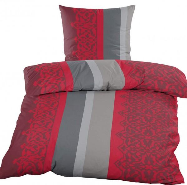 Fleece Winter Bettwäsche 135x200 80x80cm Rot Grau Streifen