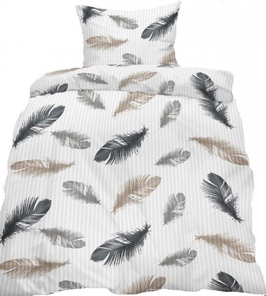 Seersucker Bettwäsche 135x200 +80x80cm, weiß grau beige, Federn, bügelfrei