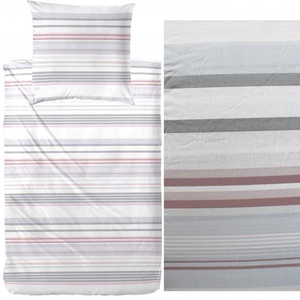 Bettwäsche 135 x 200 + 80x80 cm, Baumwoll Mischgewebe, grau rotbraun weiß, gestreift