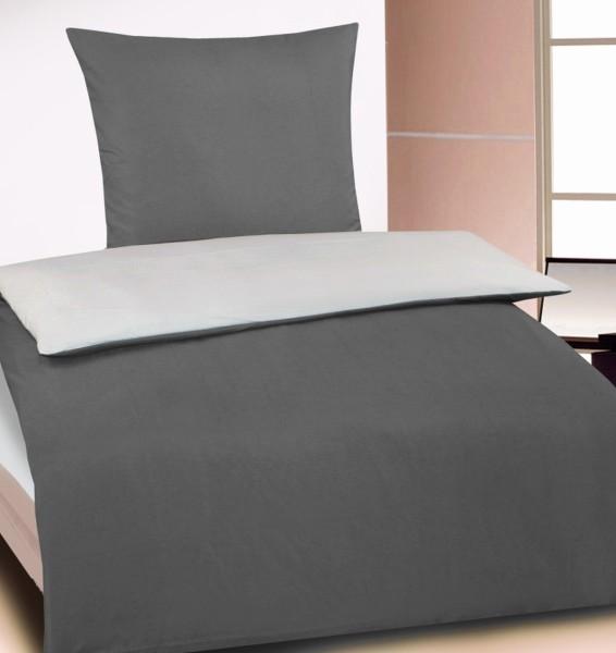 Wende Bettwäsche, 135x200 + 80x80 cm, grau silber, uni einfarbig, Reißverschluß, Microfaser