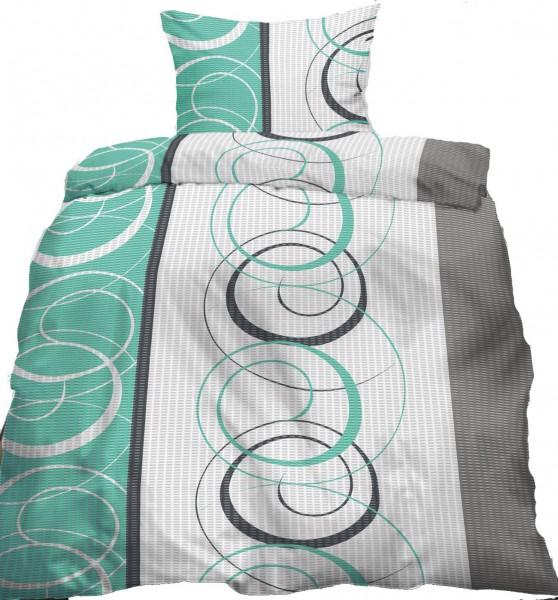 Seersucker Bettwäsche 135x200 +80x80cm, grün grau Kringel, bügelfrei