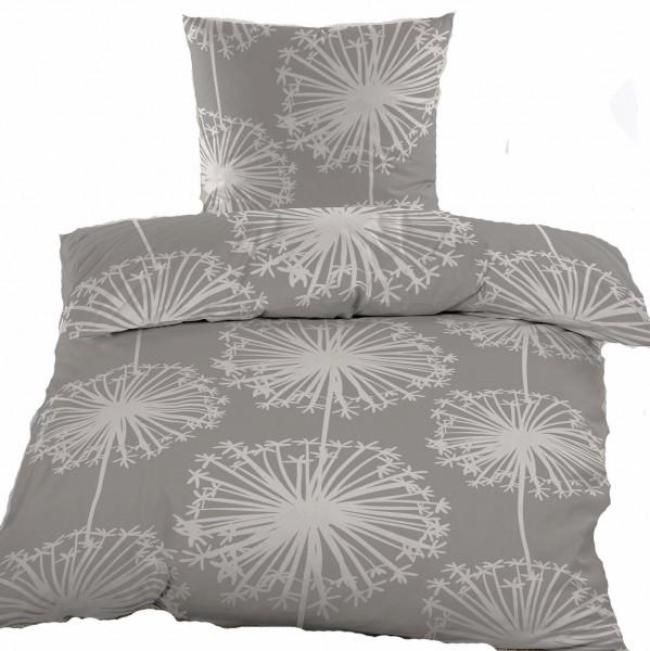 Biber Winter Bettwäsche 135 x 200 + 80x80 cm, 100% Baumwolle, grau cremeweiß, Pusteblume