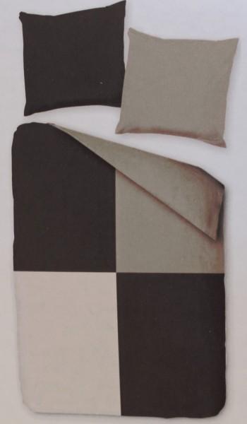 Fleece Winter Wende Bettwäsche, Übergröße: 155x220 + 80x80cm, grau, Patchwork Karo, Microfaser, Wint
