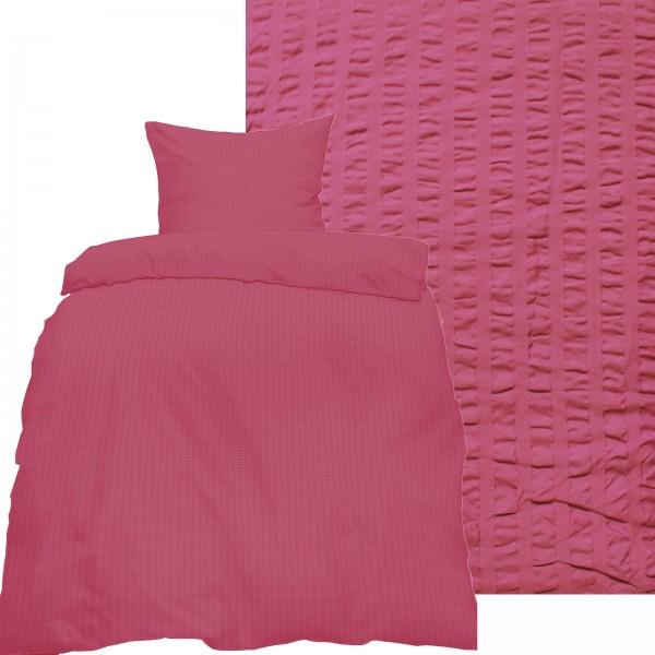 Seersucker Bettwäsche 135x200 +80x80cm, uni einfarbig, beerelila, Reissverschluß, bügelfrei, Microfa