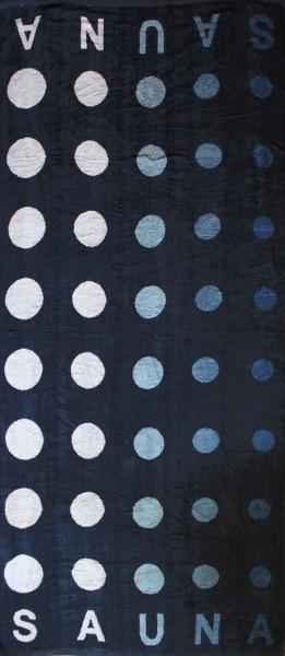 Saunatuch, Saunalaken 200 x 80 cm XXL Länge, Frottier, 100% Baumwolle, blau Punkte