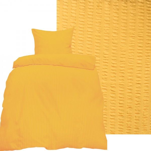 Seersucker Bettwäsche 135x200 +80x80cm, uni einfarbig, pastellgelb, Reissverschluß, bügelfrei, Micro