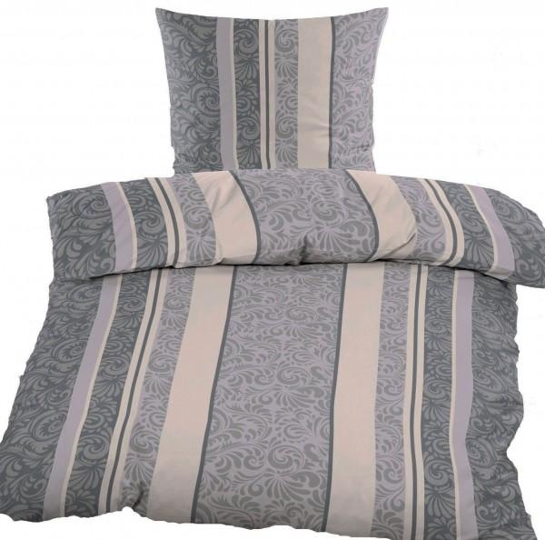 Biber Winter Bettwäsche 135 x 200 + 80x80 cm, 100% Baumwolle, grau creme hellgrau, Streifen,Ornament