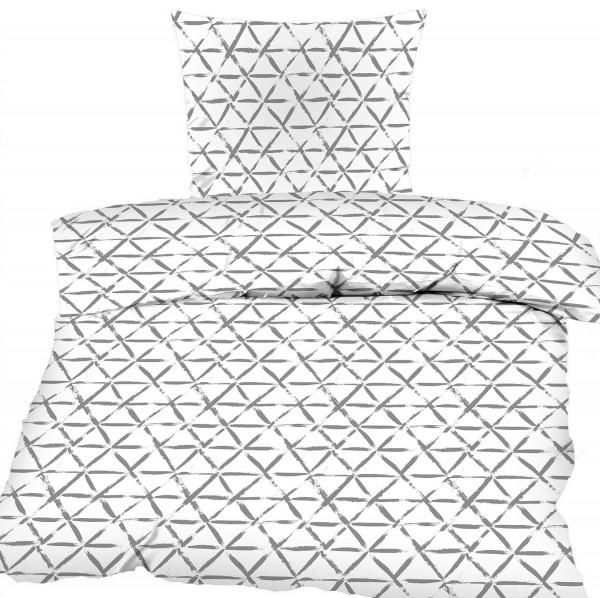 Seersucker Bettwäsche 135x200 +80x80cm, weiß, mit grauen Dreiecken, bügelfrei