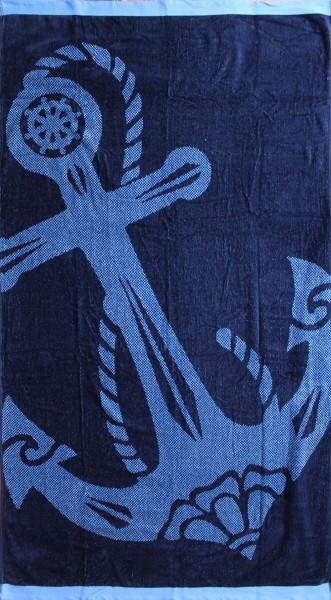 Frottee Strandlaken, Strandtuch 160 x 86 cm, Anker, 100% Baumwolle, Velour Frottier, Duschtuch