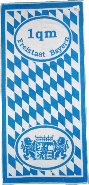 Frottier Duschtuch, Motiv: 1qm Freistaat Bayern, 70 x 150cm, mit Wappen und Rauten, blau weiss, Frot