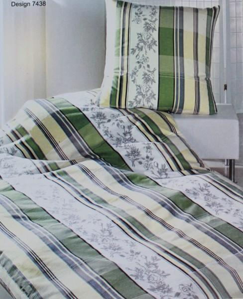 Baumwoll Fein Biber Winter Bettwäsche, Übergröße: 155 x 220 + 80x80cm, creme weiss grün gemustert