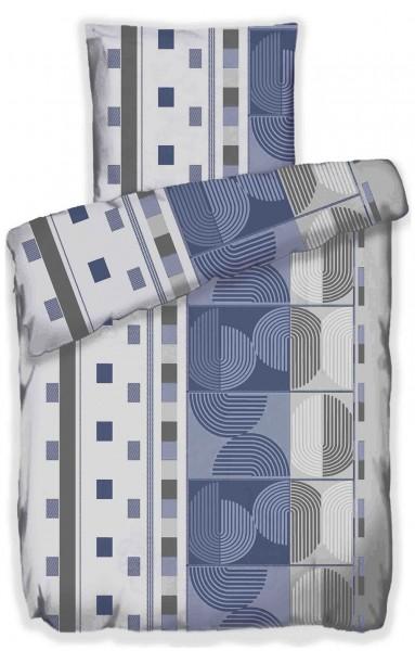 Sommer Bettwäsche, 135 x 200 + 80x80 cm, blau grau weiß, Karo mit abstrakter Musterung