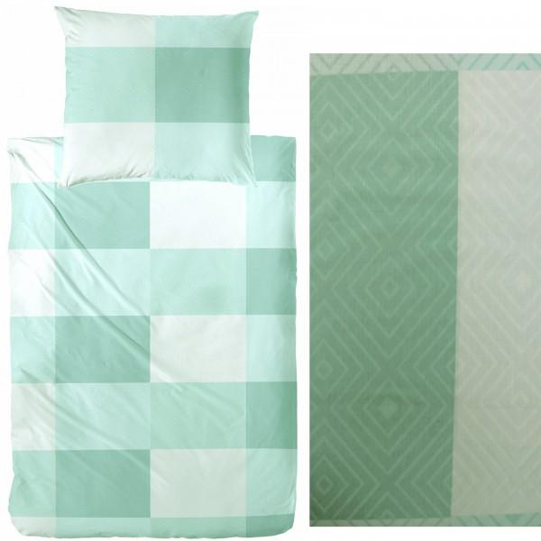 Bettwäsche 135 x 200 + 80x80 cm, Baumwoll Mischgewebe,mintgrün, grafische Karo Musterung