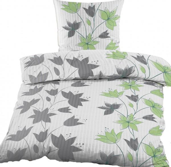 Seersucker Bettwäsche 135x200 +80x80cm, grau grün weiß. Blüten, bügelfrei