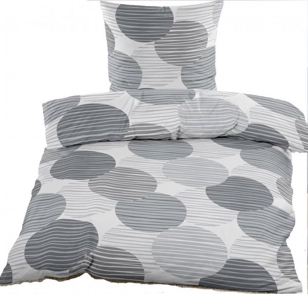 Renforce Bettwäsche 135 x 200 + 80x80 cm, 100% Baumwolle, grau weiß Kreise