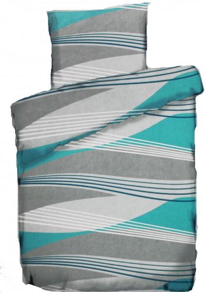 Sommer Bettwäsche, 135 x 200 + 80x80 cm, türkis grau, Wellen, Microfaser