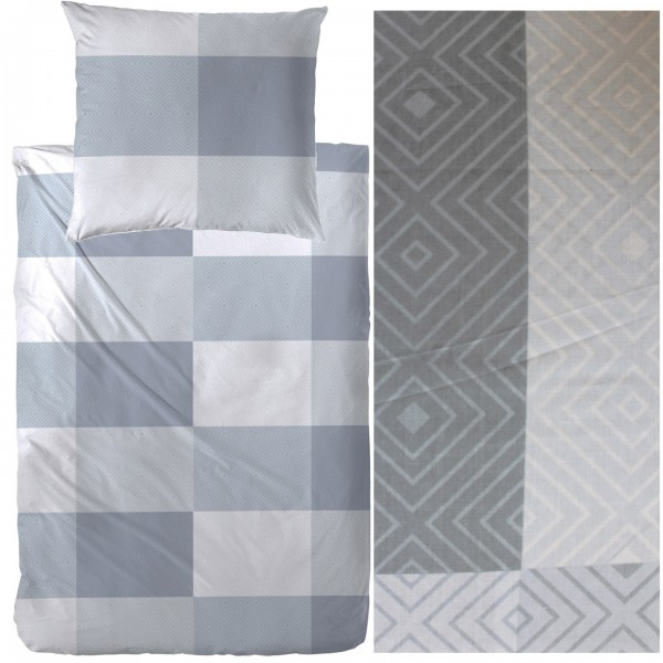 Bettwäsche 135 x 200 + 80x80 cm, Baumwoll Mischgewebe,grau, grafische Karo Musterung