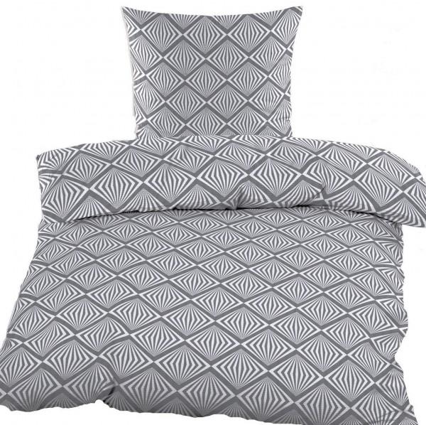 Bettwäsche 100% Baumwolle, Renforce, 135x200 + 80x80cm, grau, abstrakte Karo Musterung