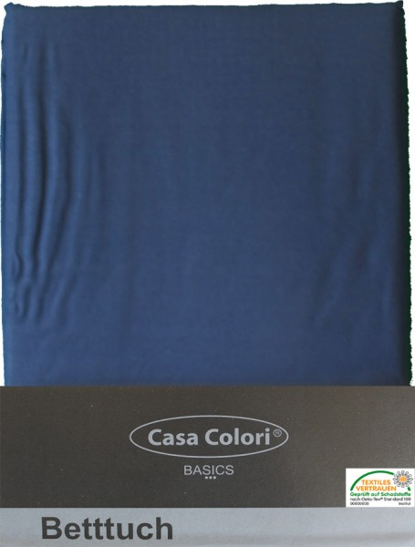 klassisches Haustuch, Betttuch, Bettlaken, OHNE Spanngummi, 150x250 cm, Farbe: blau, 100% Baumwolle-