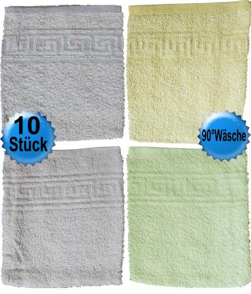 10er Pg. kochfeste Waschhandschuhe ca. 17x22 cm, Baumwoll Mischgewebe, Frottier, Frottee, Waschlappe