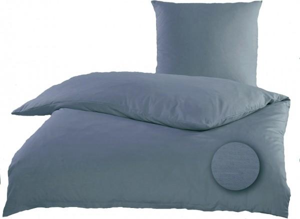 Satin Bettwäsche 135 x 200 + 80x80 cm, Baumwoll Mischgewebe, blaugrau, uni/einfarbig