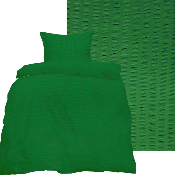 Seersucker Bettwäsche 135x200 +80x80cm, uni einfarbig, grün, Reissvershluß, bügelfrei, Microfaser
