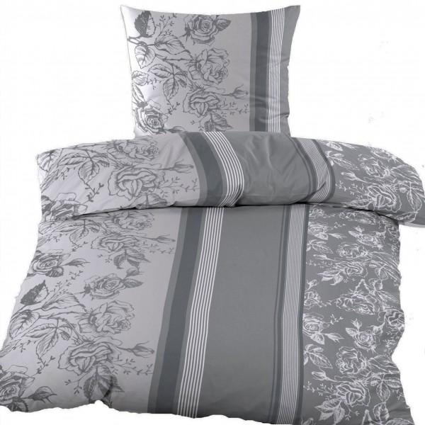 Biber Winter Bettwäsche 135 x 200 + 80x80 cm, 100% Baumwolle, grau Blüten/Streifen