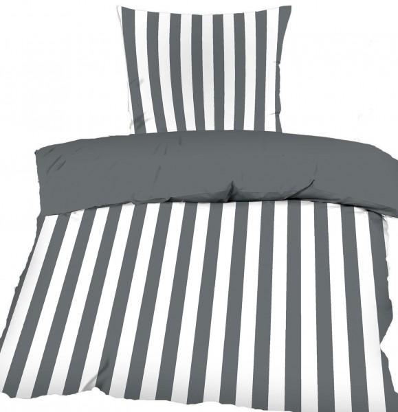Renforce Wende Bettwäsche 135 x 200 + 80x80 cm, 100% Baumwolle, grau weiß Streifen + Uni