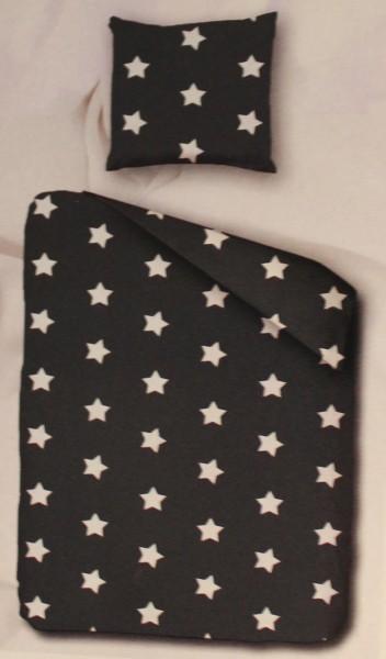 Nerz / Fleece Winter Bettwäsche 135 x 200 + 80x80cm, Sterne, dunkelgrau, Microfaser