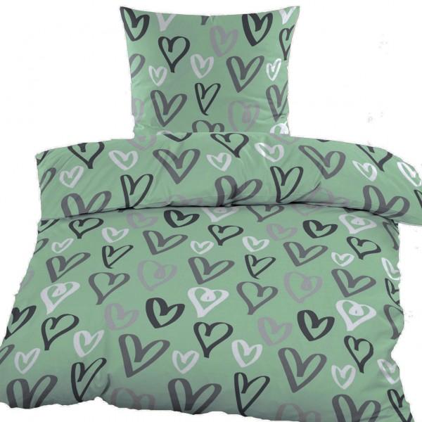 Biber Winter Bettwäsche 135 x 200 + 80x80 cm, Baumwoll Mischgewebe, grün, Herzen