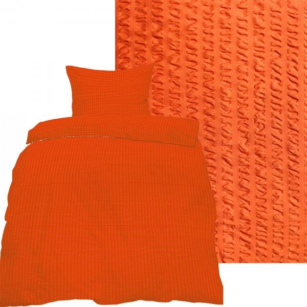Seersucker Bettwäsche 135x200 +80x80cm, uni einfarbig, orange, Reissverschluß, bügelfrei, Micro
