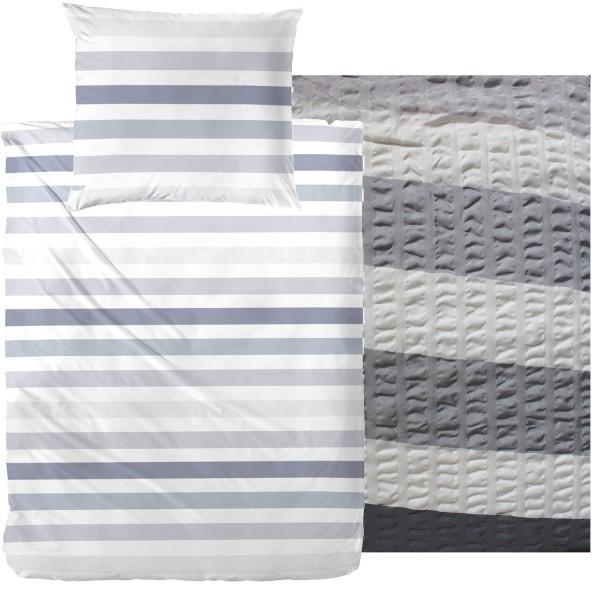 Seersucker Bettwäsche 135x200 +80x80cm, grau weiß, Blockstreifen, bügelfrei