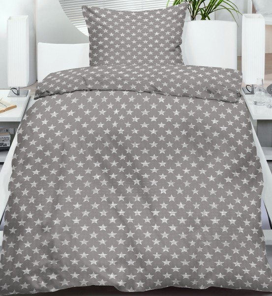seersucker bettw sche 135x200 80x80cm grau wei kleine sterne b gelfrei kh haushaltshandel. Black Bedroom Furniture Sets. Home Design Ideas