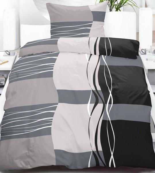fleece winter bettw sche 135x200 80x80cm grau schwarz karo streifen microfaser kh. Black Bedroom Furniture Sets. Home Design Ideas