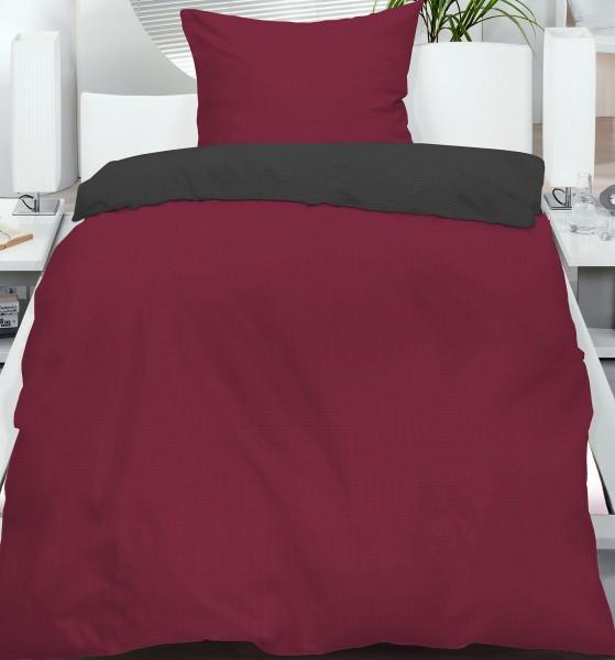 Seersucker Wende Bettwäsche 135x200 +80x80 cm, beere grau, uni/einfarbig, bügelfrei, Microfaser