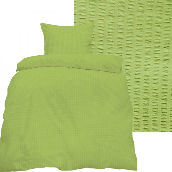 Seersucker Bettwäsche 135x200 +80x80cm, uni einfarbig, hellgrün, Reissvershluß, bügelfrei, Microfase