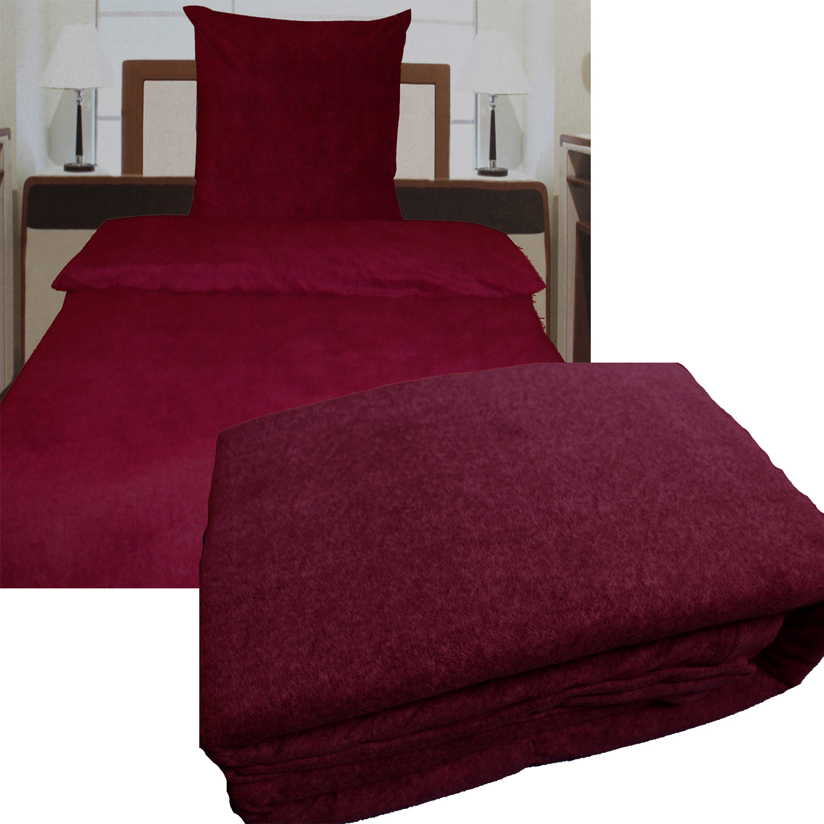 fleece winter bettw sche 135 x 200 80x80 cm lila beere. Black Bedroom Furniture Sets. Home Design Ideas